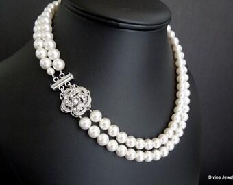ivory swarovski pearl and crystal necklace Statement Bridal necklace Wedding Rhinestone necklace swarovski crystal necklace ROSELANI