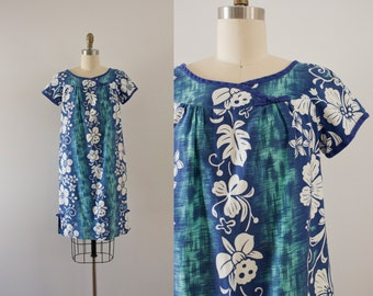 S A L E . 1960s Tropical Oasis hawaiian blues cotton dress / 60s beachy sheath