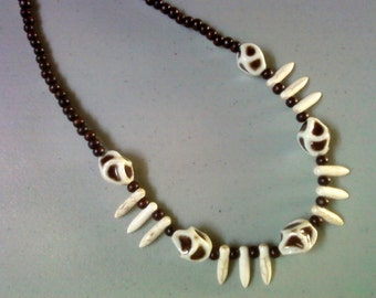 Brown and Ivory Ethnic Inspired Necklace (1254)