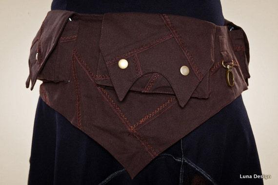 Festival Pocket Belt -  Tribal patch Pockets -  Money Belt  Practical pockets - vegan money belt -