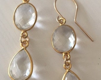Crystal Quartz Bezel Set Earrings