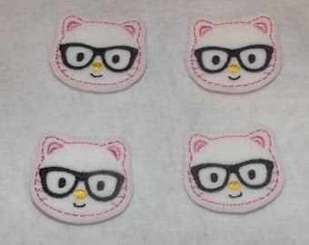 Feltie Machine Embroidered Hand made (4) Felt Geeky Kitty Cat CUT Embellishments / appliques