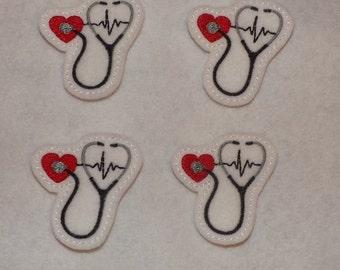 Feltie Machine Embroidered Hand made (4) Felt Heart Stethoscope CUT Embellishments / appliques