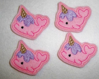 Ready to Ship Feltie Machine Embroidered Hand made (4) Ice Cream Whale CUT Embellishments / appliques
