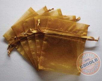 30  GOLD 5x8 Sheer Organza Bags