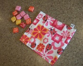 girls ladybug and flower snack bag birthday party favor