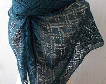 Knitted Linen Scarf Lace Shawl Natural Summer Wrap in Teal Green Blue Women Accessory