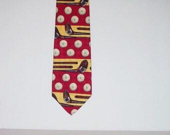 Vintage Mens Tie Lands End Silk Golf Novelty Print Red Neck Tie Mens Fashion Accessory
