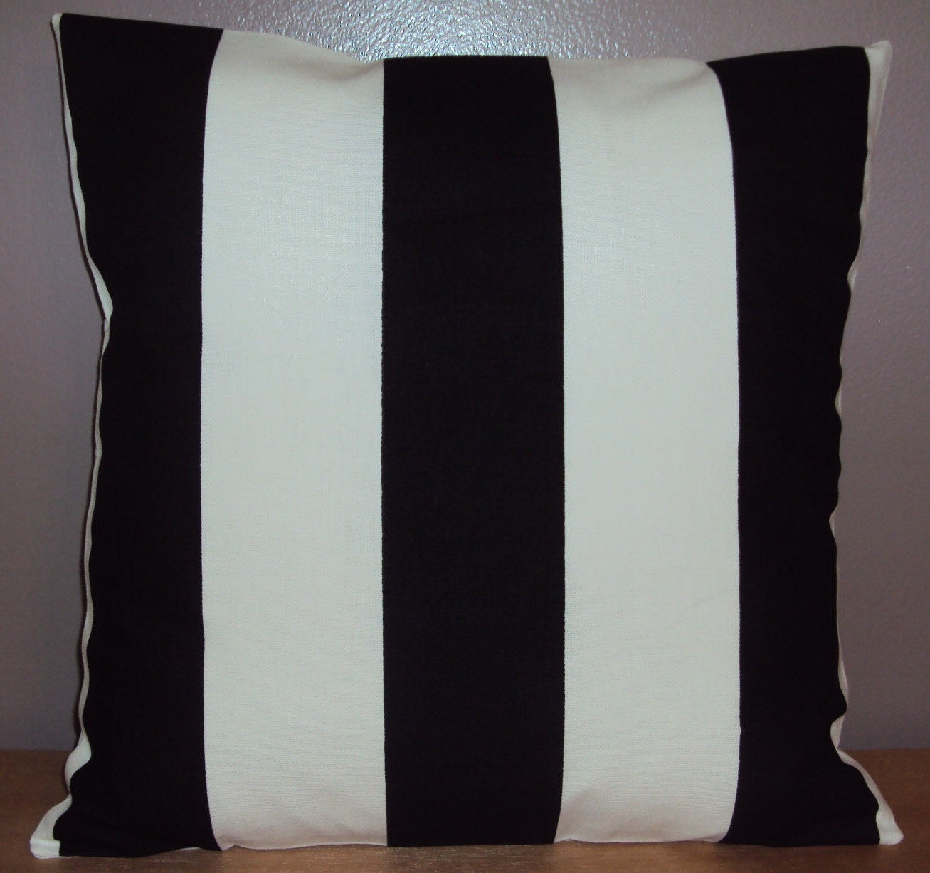 Black and White Stripe Decorative Pillow Cover by PlumandLitton