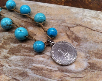 Attractive COIN Shekel / Sheqel Pendant Dangles from this pretty Turquoise colored Magnesite Marbled Beads Unique Jewelry Collectors Dream