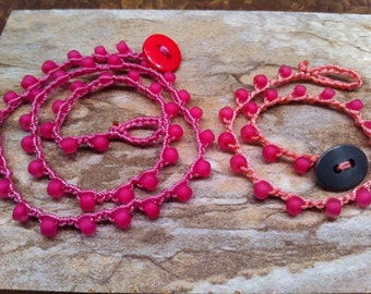 Jewelry Set for Little Girl and Her American Girl Doll Pretty Pink Beaded Necklaces on Pink thread Fun and Affordable Accessories