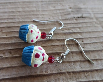 Sweet Blue Cupcake Hand Painted Clay and Crystal Earrings