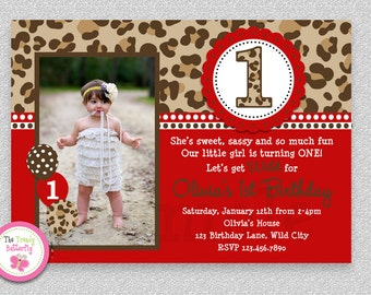Cheetah Birthday Invitation , Girls 1st Birthday Party Invitation Printable
