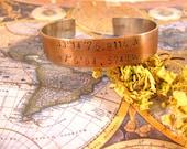 Custom Geographic Coordinates Bracelet Copper Stamped Cuff Wanderlust Travel Latitude Longitude Bracelet Gift Under 30 Arrow