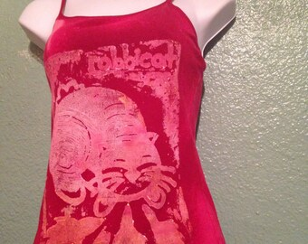 Womens RABBICAT on a red Tank Top, hand printed, Linoleum Block, rabbit cat hybrid
