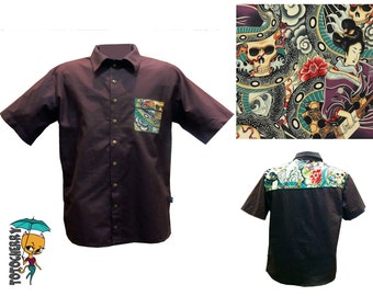shirt dark brown and tatoo Japanese yakuza way