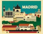 Madrid Skyline art Print, Madrid artwork, Madrid wall art, Madrid horizontal, Madrid Spain gift, Spanish decor, Spain print, style E8-O-MAD