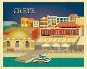 Crete Print Skyline Art, Greece Travel Wall Art, Crete Gift, Loose Petals horizontal art Print, Greece Poster, Greek, style E8-O-CRE