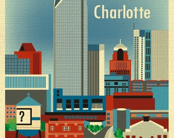 Charlotte NC Print, North Carolina City Art Print, Charlotte Skyline Art, Blue Charlotte vertical art gift,  Loose Petals - style E8-O-CHA