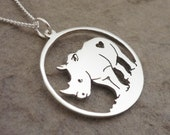 Sterling Silver Handmade Rhino Pendant on Chain (percentage to charity)
