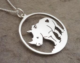 Sterling Silver Handmade Rhino Pendant on Chain