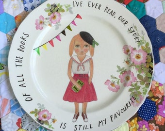 Sophie Bunny Our Story Vintage Illustrated Large Plate