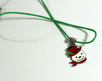 Frosty the Snowman Charm Necklace with Red Hat and Green Cord - girls necklace - girls teens womens necklace