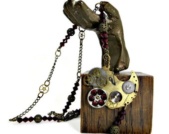 OOAK Steampunk Vintage Watch Parts and Gears with Red Swarovski Crystals & Antiqued Brass Chain