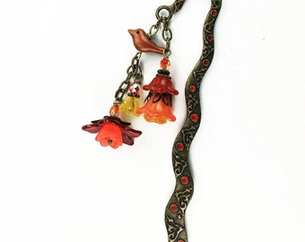 Orange, Rust Red, and Yellow Flower and Bird Shepherd Hook Bookmark, Hand Painted, Brass Bead Caps , Czech Glass Beads Gifts for Book Lovers