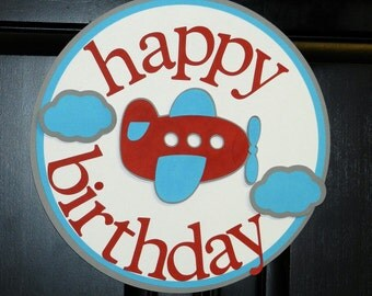 Airplane and Clouds Happy Birthday Door Sign in Red, White, Gray, and Blue
