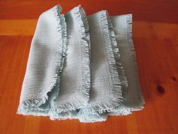 Aqua - Aquamarine Napkins with Fringed Edges - Repurposed Fabric - Set of 4 Handmade - Eco Friendly