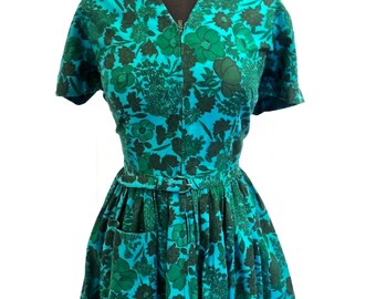 vintage teal floral dress - 1950s Don-About green/blue floral full skirt day dress
