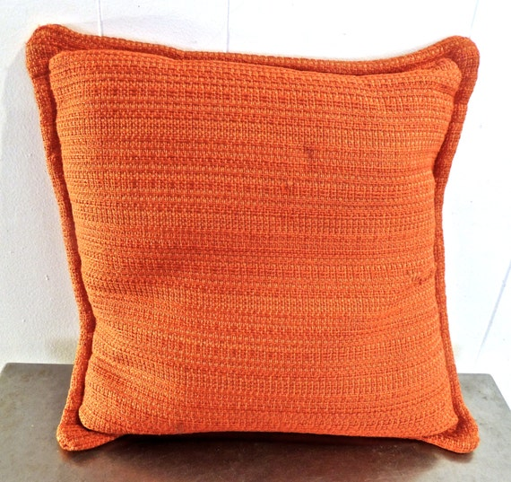 Mid Century Throw Pillow : vintage woven throw pillow 1960s orange mid century by mkmack