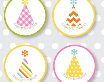 Happy Birthday Labels multicolor