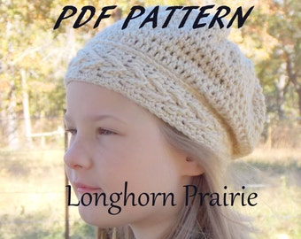 V Cable Slouchy Hat  crochet PATTERN PDF (instant download)