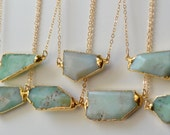 MINT /// Chrysoprase Necklace /// 24kt Gold Electroformed