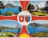 Switzerland Postcard - Lugano Vintage Travel Postcard - Lake Lugano Ticino