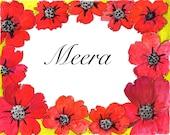 PERSONALIZED print NAME gift-red poppy design, girls room art, personalized girls gift, nursery art