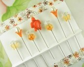 Decorative Sewing Pins Tangerine Turtle, Crackle Glass and Butterflies
