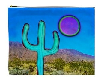 Coachella Makeup bag, Blue Cactus Cosmetic Pouch, Desert cactus makeup pouch, Cactus zipper pouch,  NirvanaRoad cosmetic makeup bag