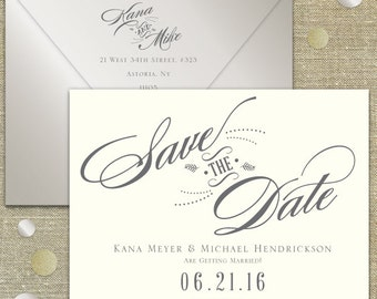Elegant script Save the Date Foil or Letterpress DEPOSIT LISTING
