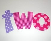 Iron On Applique Purple And Pink Girl BIRTHDAY WORD......Birthday Year Number Two 2...Or Pick Number You Prefer