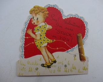 Vintage Valentine Little Girl Sweet 1950's  or Earlier Retro
