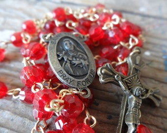 Vintage Antique Catholic  Red Plastic Beads Rosary Gold toned Metal
