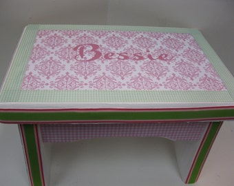 Little Girl's Princess Sturdy Step Stool or Bench Damask and Green Gingham