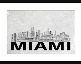 Miami Skyline Word Art Typography Typographical Print Poster Gray Grunge