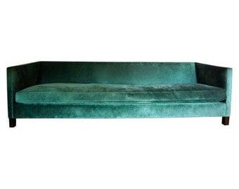 Emerald Green Velvet Pedestrian Sofa -- New/ Handmade