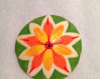 Handmade-Flower-Hand Painted-Sand Dollar-Magnet-Stunning-Bright Colors-Swarovski