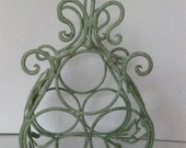 Vintage Metal Grape Vine and Bird Design Wine Bottle Holder-Rack-Shabby Chic Green
