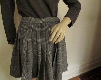 Vintage School Girl Glen Plaid Wool Pleated Skirt Small